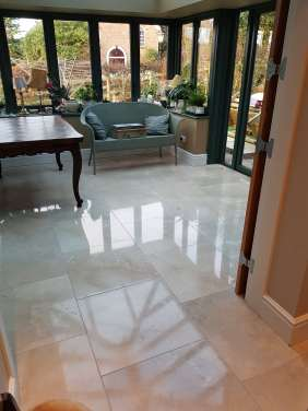 Marble Tiled Floor After Cleaned and Polished Willington Cheshire