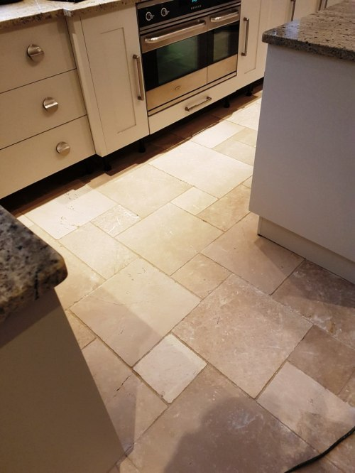 Limestone Kitchen Floor Tiled Before Cleaning