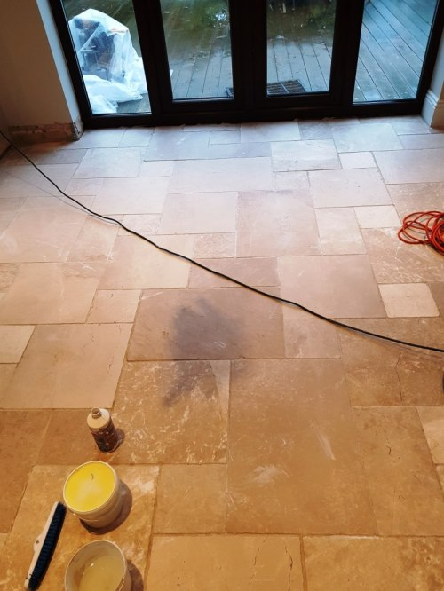 Limestone Kitchen Floor Tiled During Cleaning