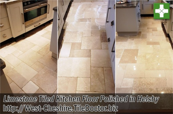 Limestone Tiled Kitchen Floor Before and After Polishing Helsby