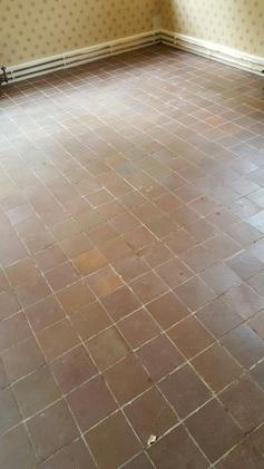 Carpet Covered Terracotta Tiled Floor Before Restortion in Appleton