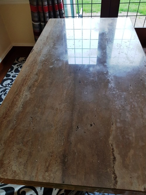 Travertine Tabletop Before Polishing Heswall Wirral
