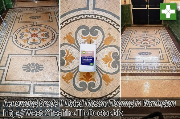 Grade II Listed Mosaic Flooring Before After Cleaning Sealing Warrington Cheshire
