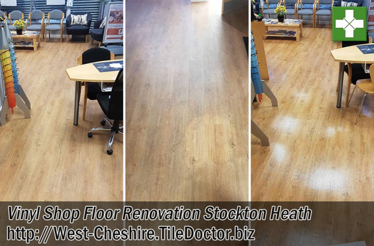 Vinyl Shop Floor Before and After Renovation in Stockton Heath