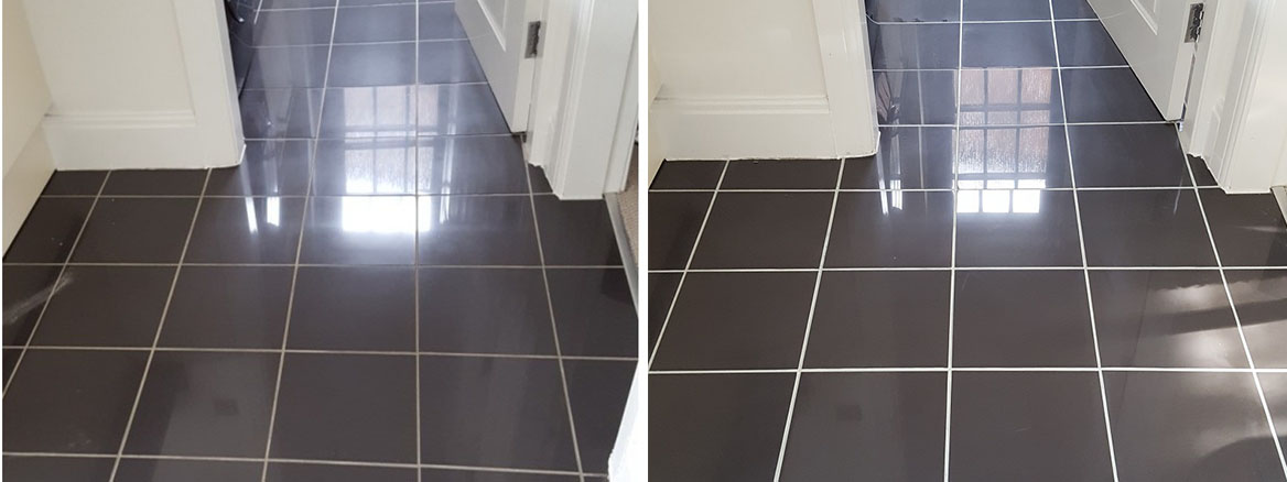 Kitchen Tiles Before After Cleaning and Grout Recolour in Warrington