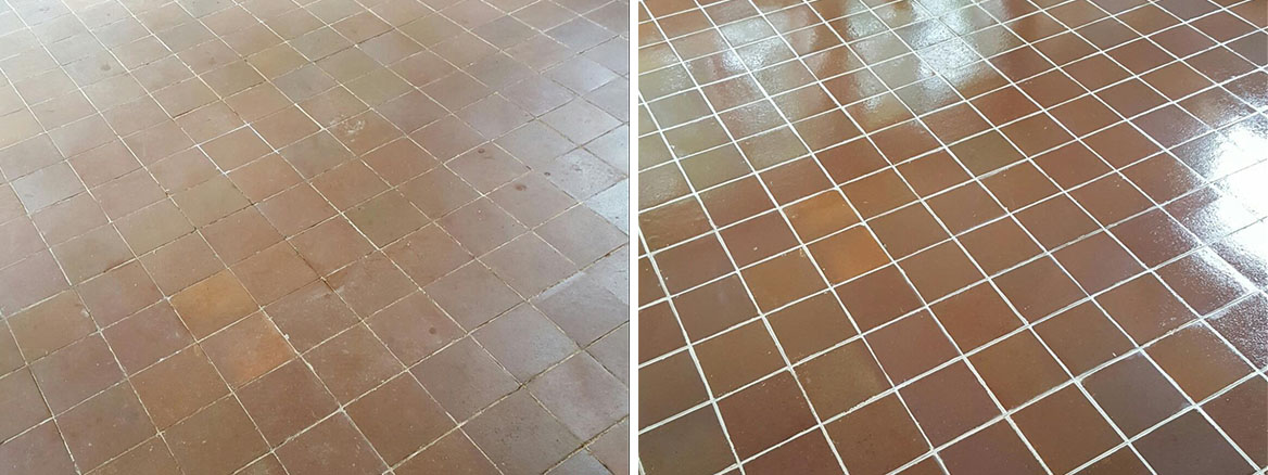 Quarry Tiles Before After Cleaning in Appleton