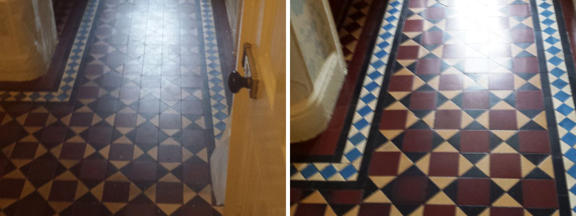 Victorian Tiled Floor Before After Cleaning Warrington