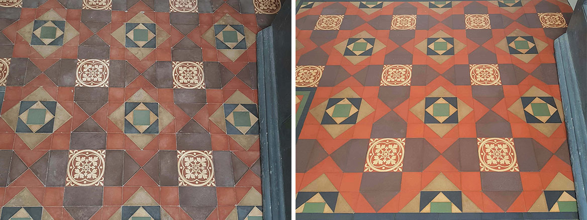 Victorian Tiled Porch Floor Before After Cleaning Cressington