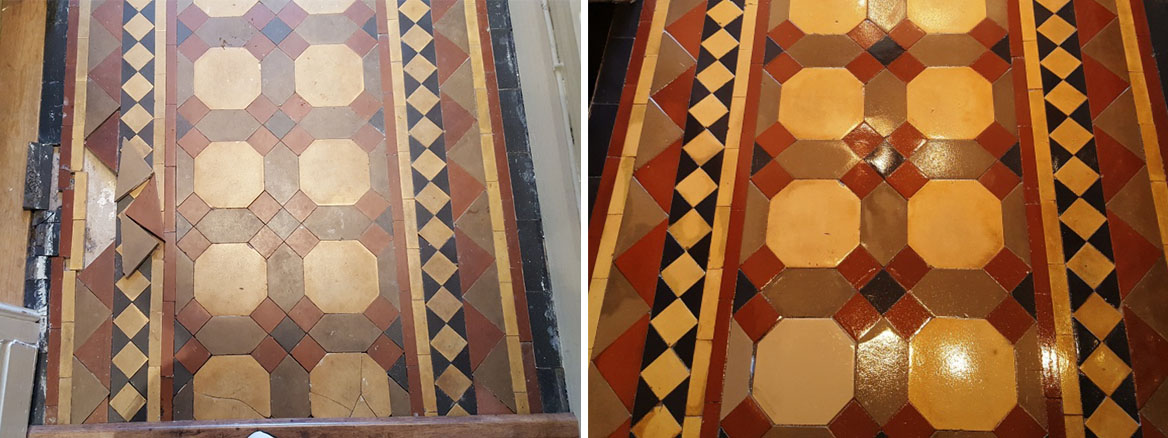 Victorian tiled hallway restoration Warrington