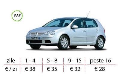 Inchirieri auto Vw Golf de la 28 €/zi