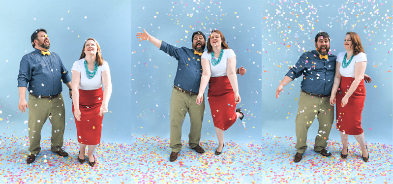 three views of a couple in bright clothing throwing confetti