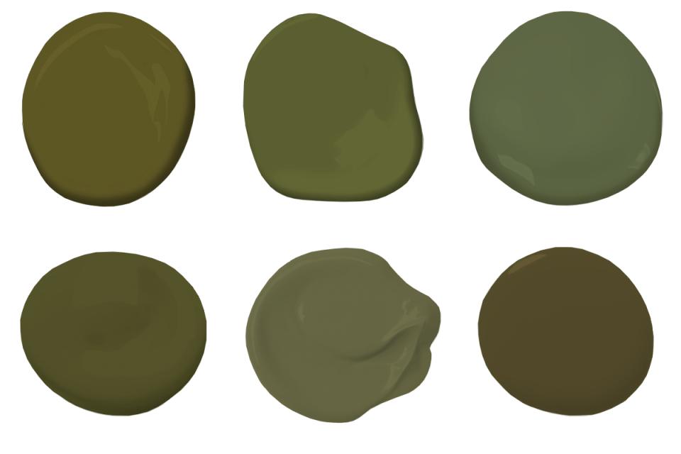 6 moss green paint dollops