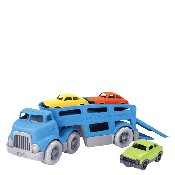 image of blue plastic toy hauler truck with yellow green and orange cars on top