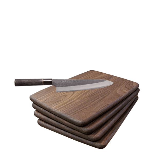 image of walnut cutting boards and forged chef's knife