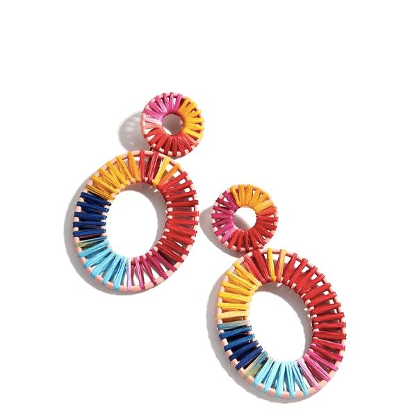 rainbow raffia earrings with oval shape