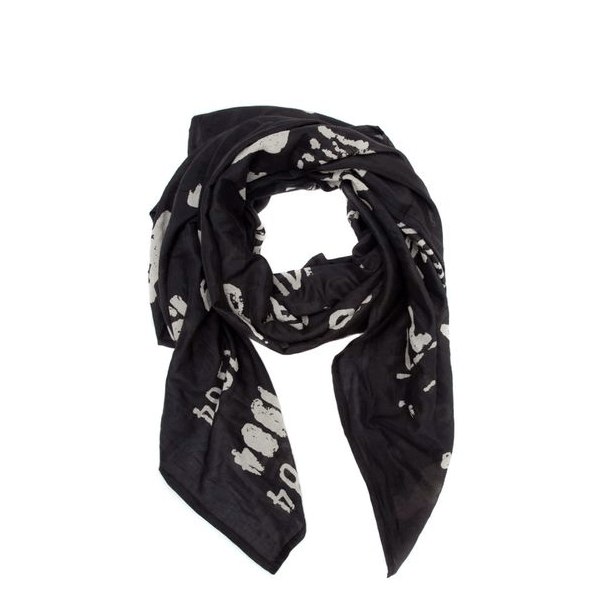 image of black scarf will white pattern of oversized library stamp print