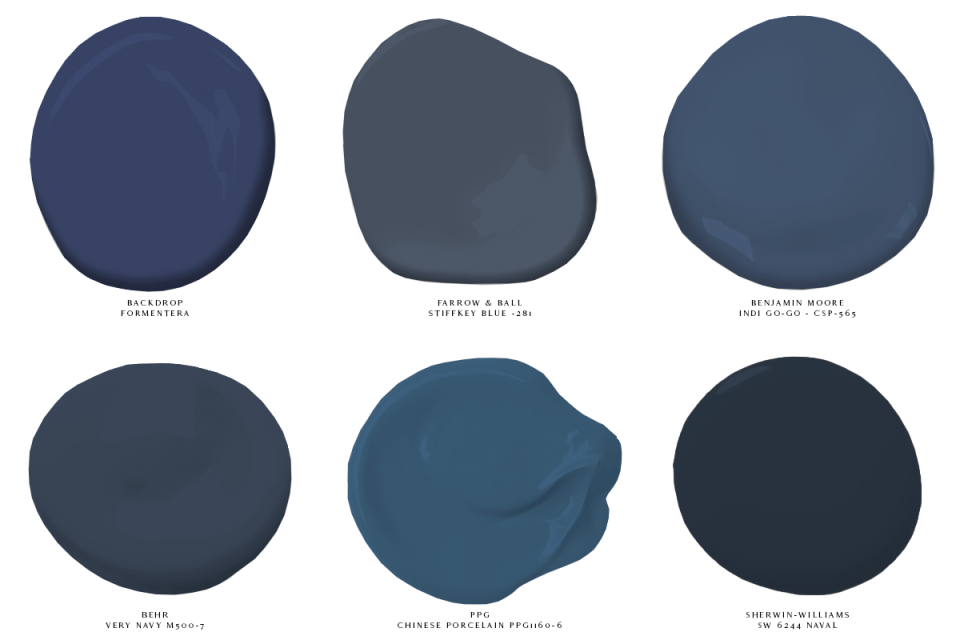 image of 6 swatches of classic blue paint backdrop formentera farrow and ball stiffkey blue benjamin moore indi go-go behr very navy ppg chinese porcelain sherwin-williams naval 2020 color of the year