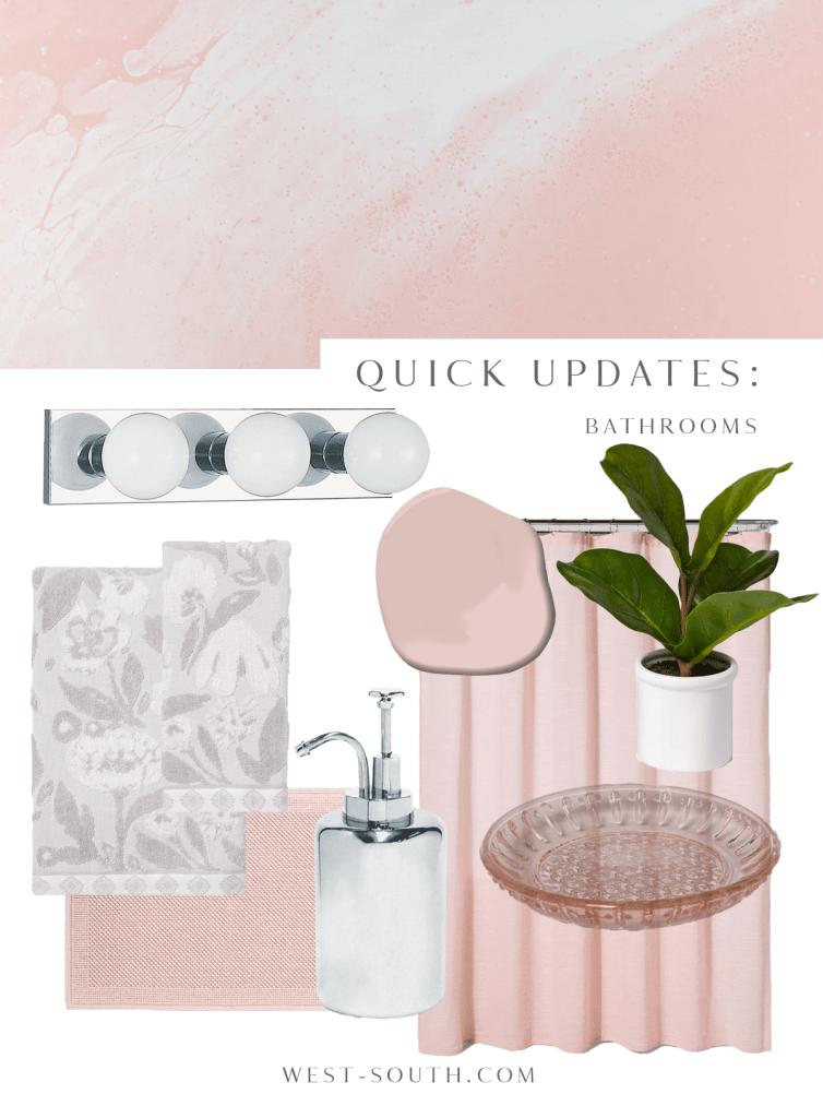 image of soft pink rental bathroom updates