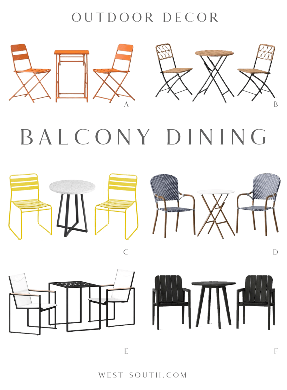 round up of balcony dining furniture by West-South