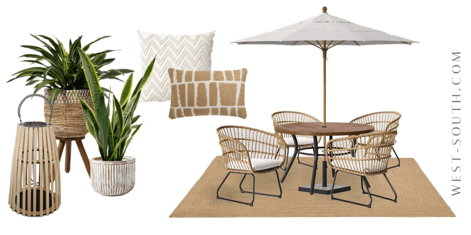 image of neutral patio dining set up