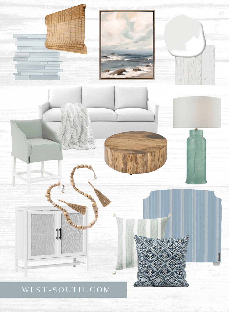 moodboard of coastal cottage with seaglass colors