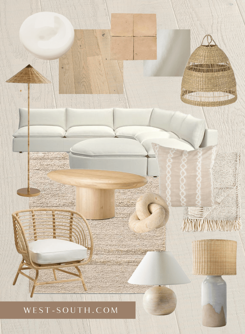 moodboard of modern beach house with woven details and sand colors