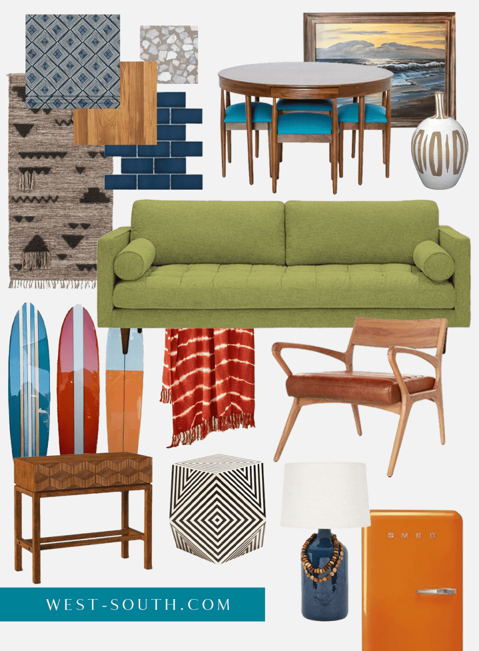 moodboard of surf shack style with retro colors and vintage furnishings