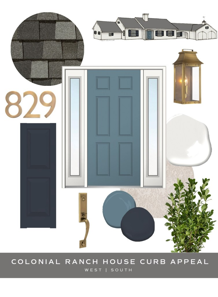 image showing curb appeal ideas for a colonial style ranch house