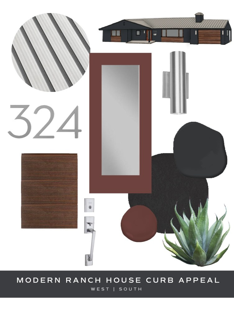 image showing curb appeal ideas for a modern style ranch house