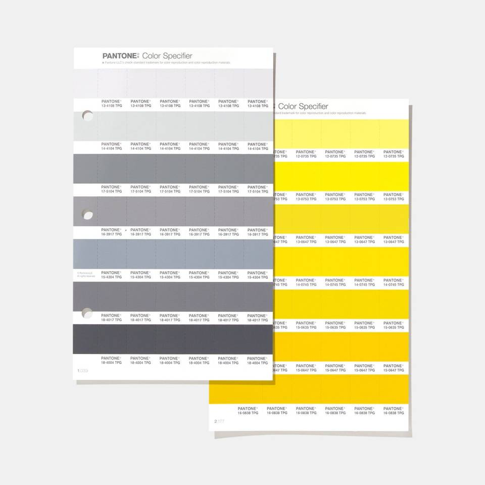 image of pages from pantone swatch book showing 2021 pantone colors of the year ultimate gray and illuminating yellow