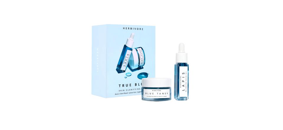image of herbivore true blue clarifying skincare kit