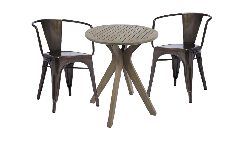 image of french metal chairs with a modern wooden bistro table