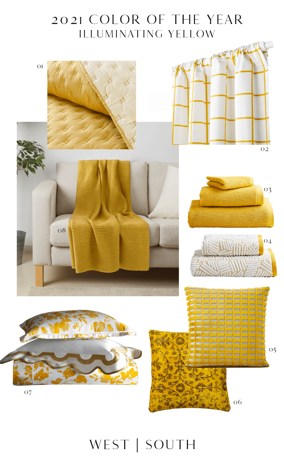 round up image showing yellow bedding curtains blankets towels and pillows