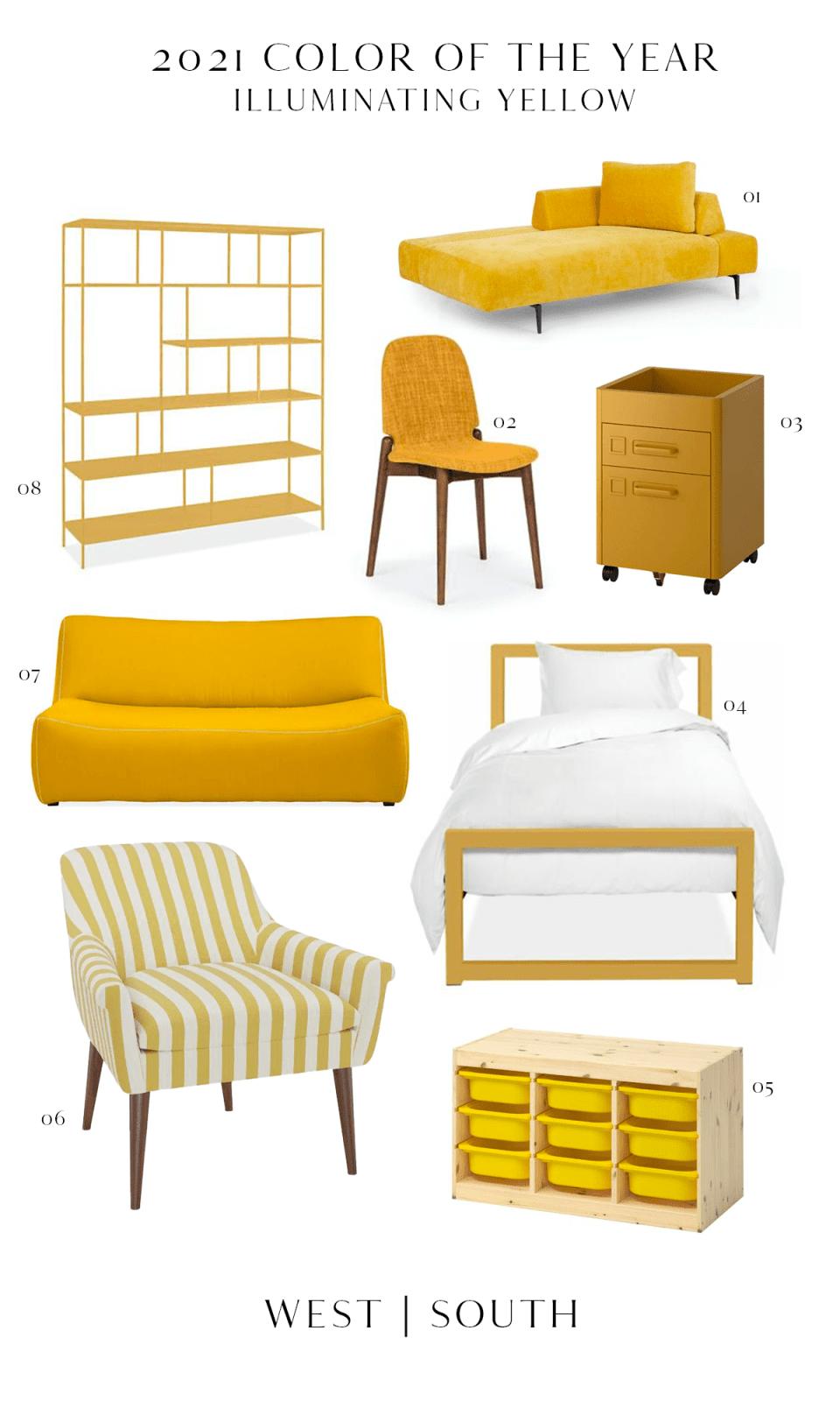 roundup image showing yellow seating shelving beds and storage