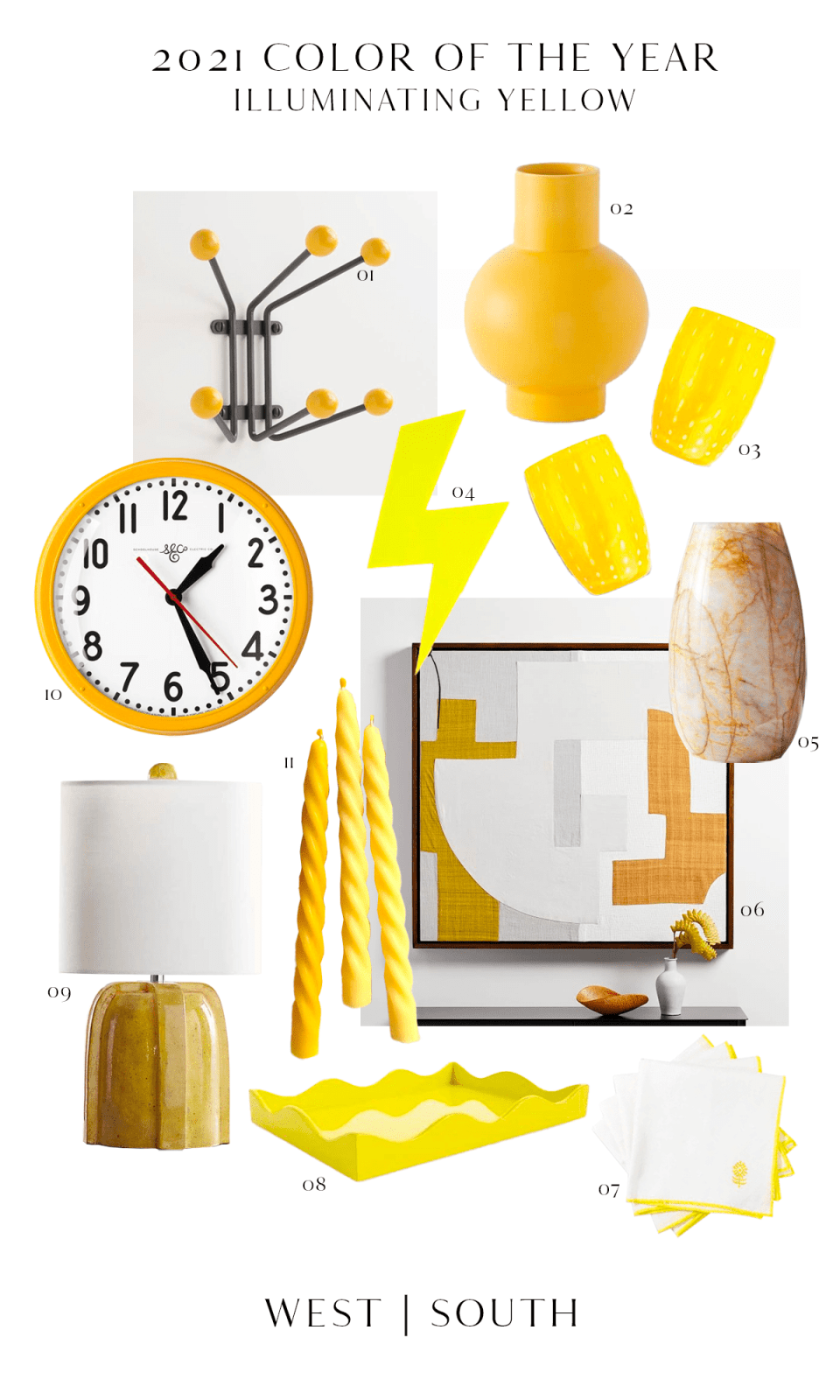 roundup image showing yellow home decor, lamps, art and tableware