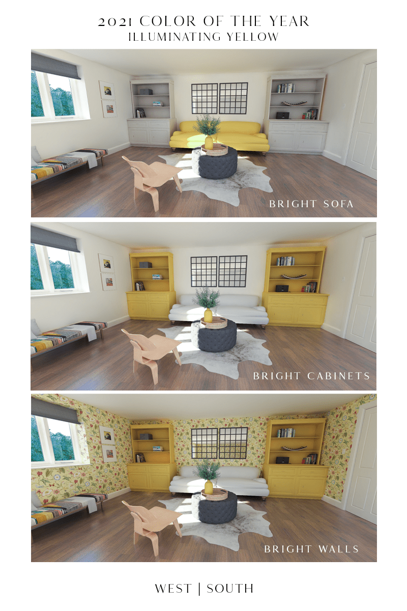 image showing digital rendering of a living room three times; top image with a yellow sofa, middle image with yellow bookcases, bottom image with yellow bookcases and yellow floral wallpaper
