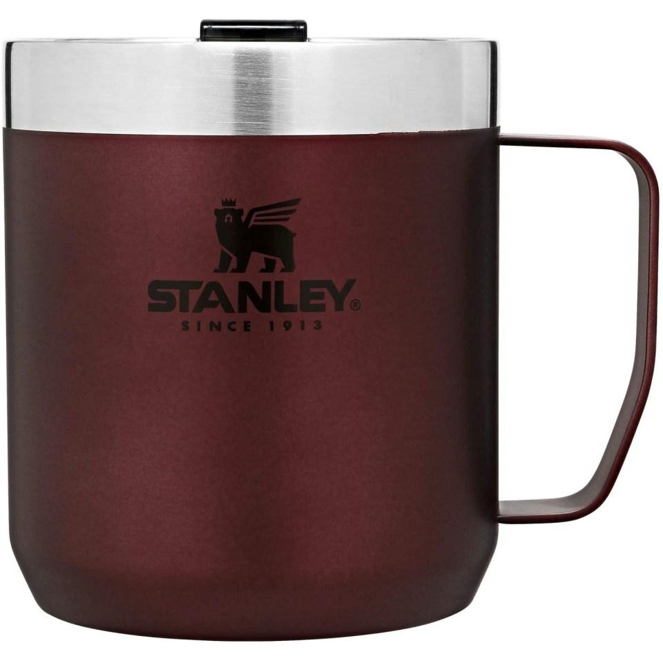 wine colored stainless steel stanley coffee mug