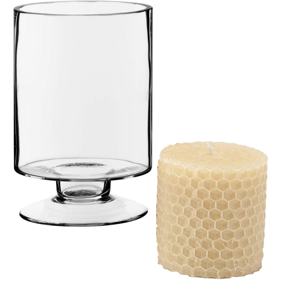 glass hurricane votive and beeswax candle