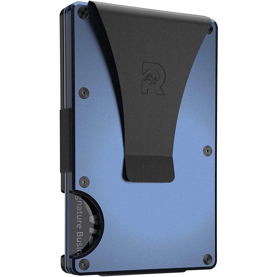 ridge metal wallet in blue