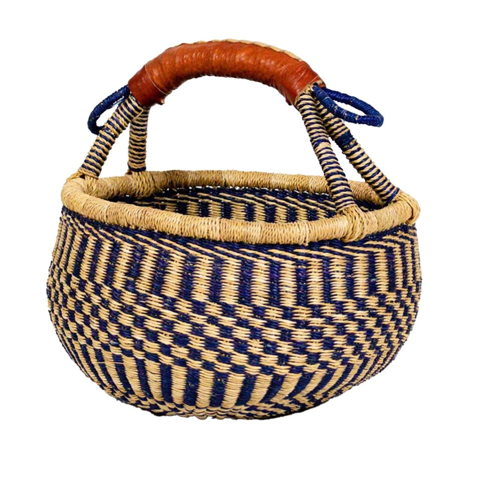 handwoven basket with leather handle