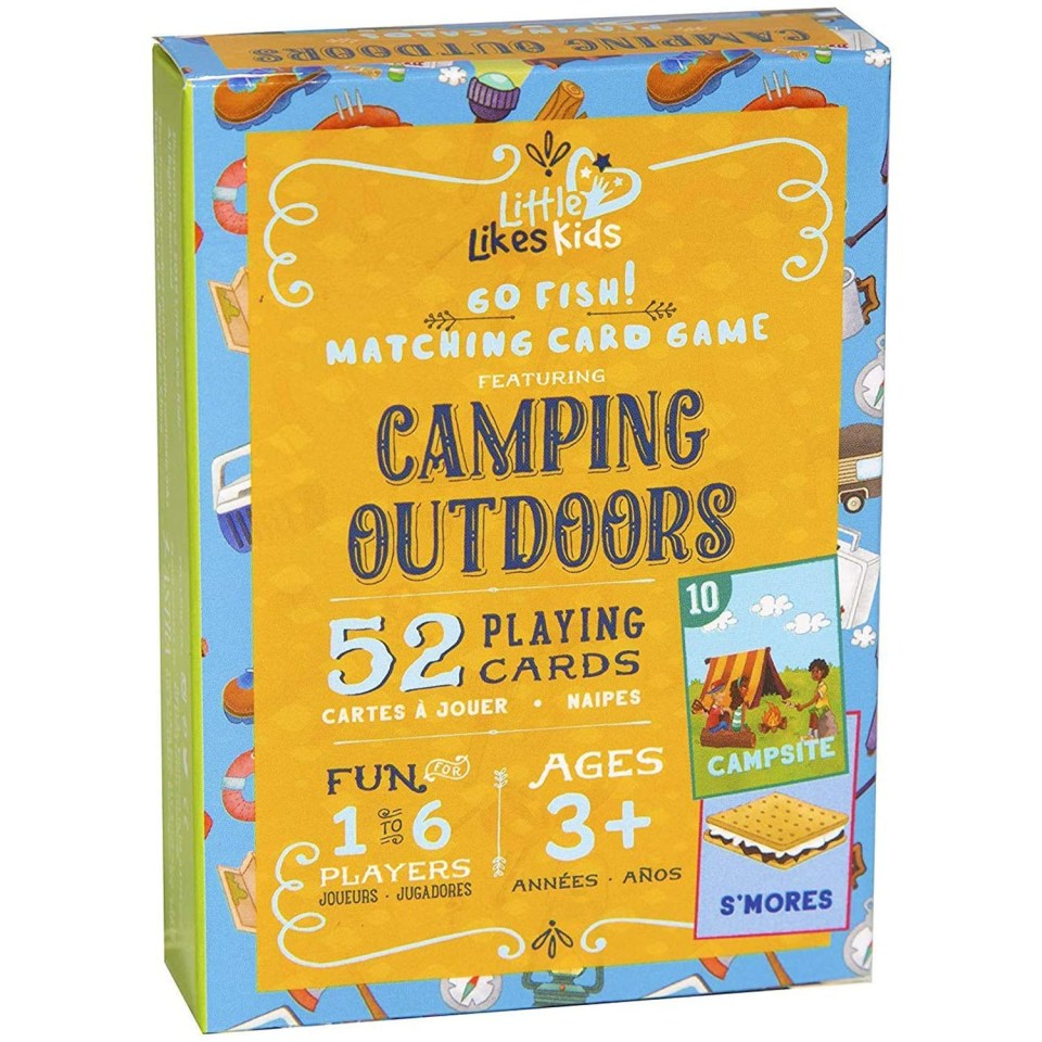 a card game for kids with a camping theme