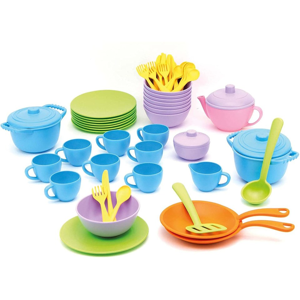 colorful recycled plastic tea set for play