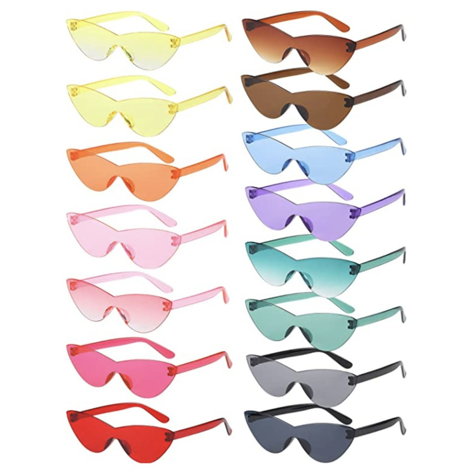 15 pairs of candy colored rimless cat eye sunglasses