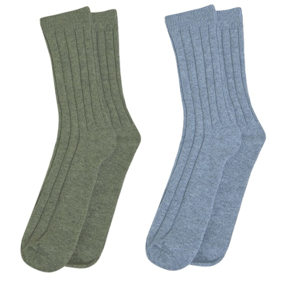 State Cashmere Olive Green and Sky Blue Socks