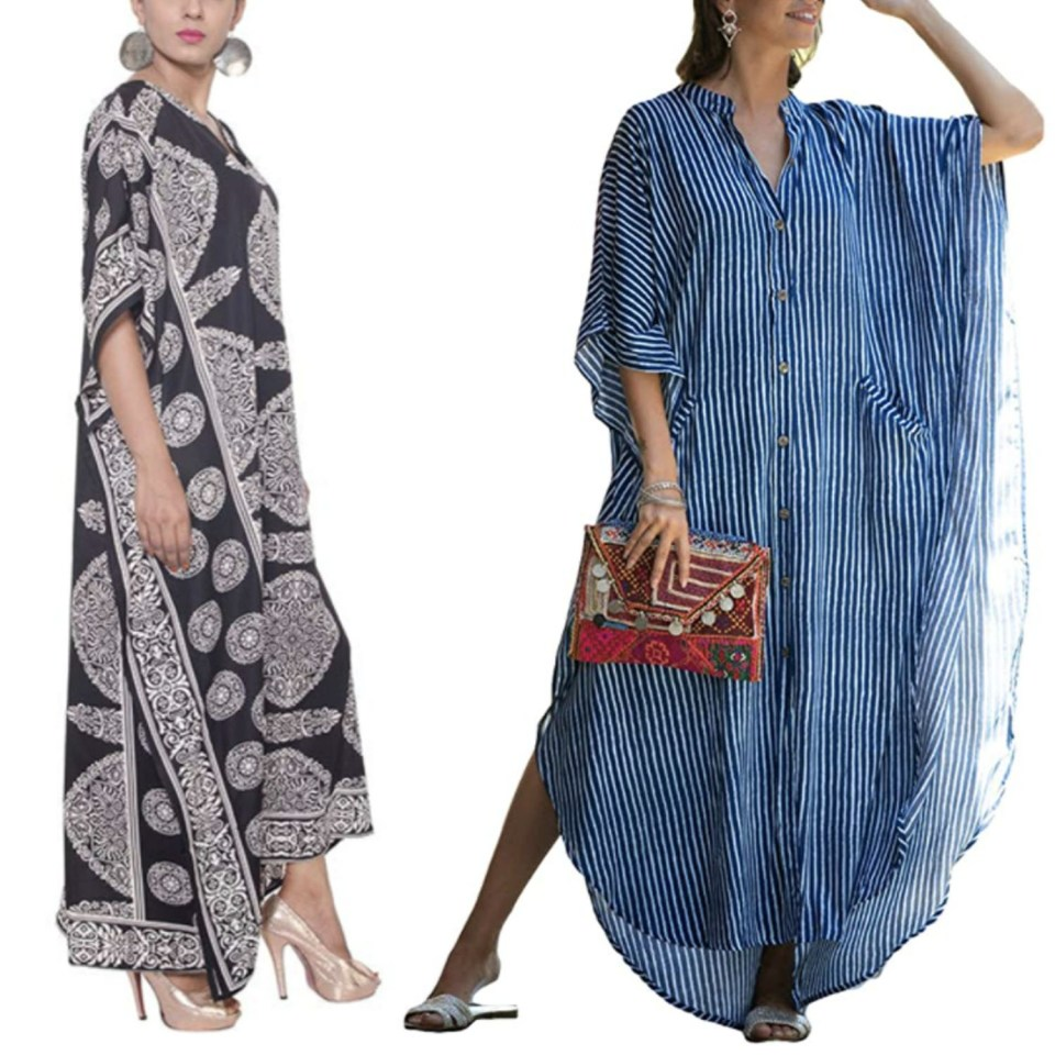 Black and White Blockprint Caftan and Blue and White Stripe Caftan