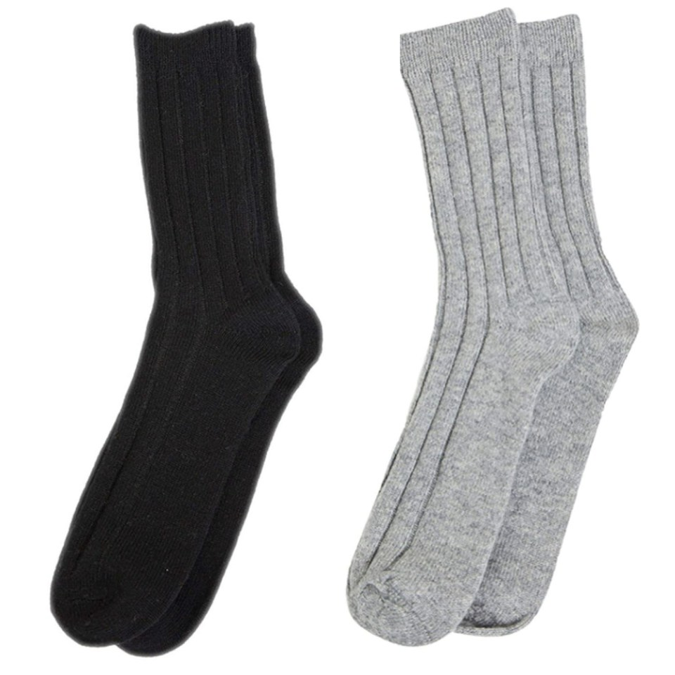 State Cashmere Black and Pale Charcoal Socks