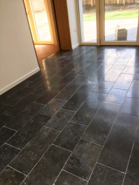 Scratched Black Limestone Floor After Burnishing Godalming