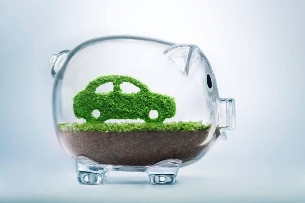 Piggybank with green car inside