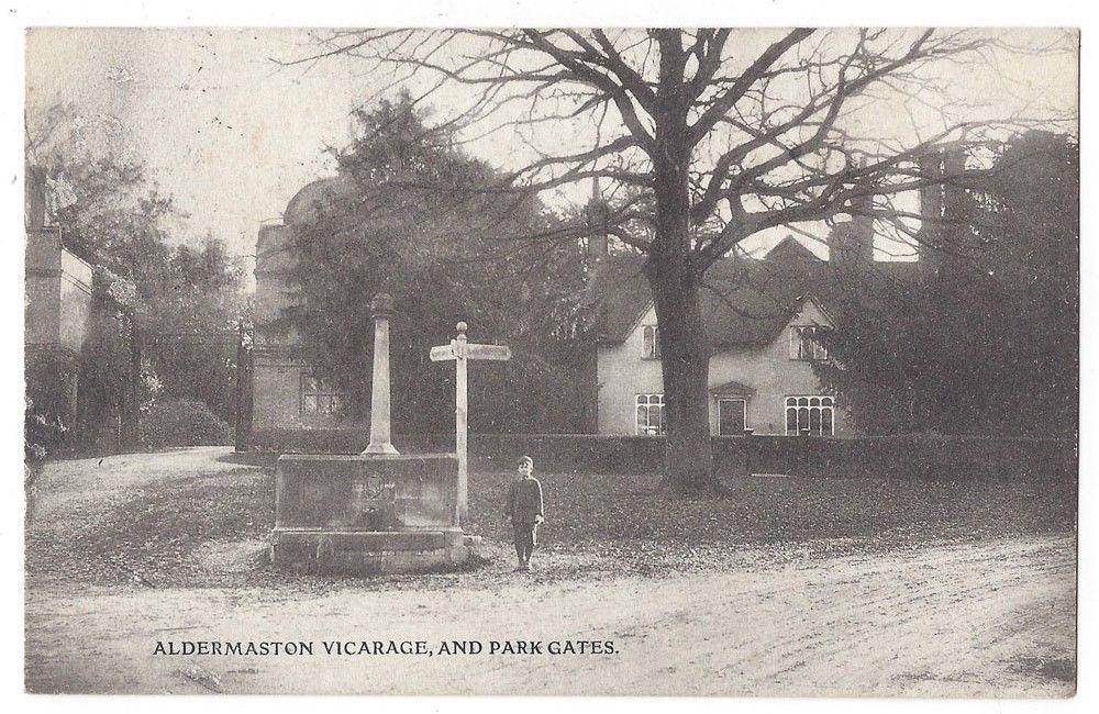 ALDERMASTON-Vicarage-and-Park-Gates-Old-Postcard-Postally