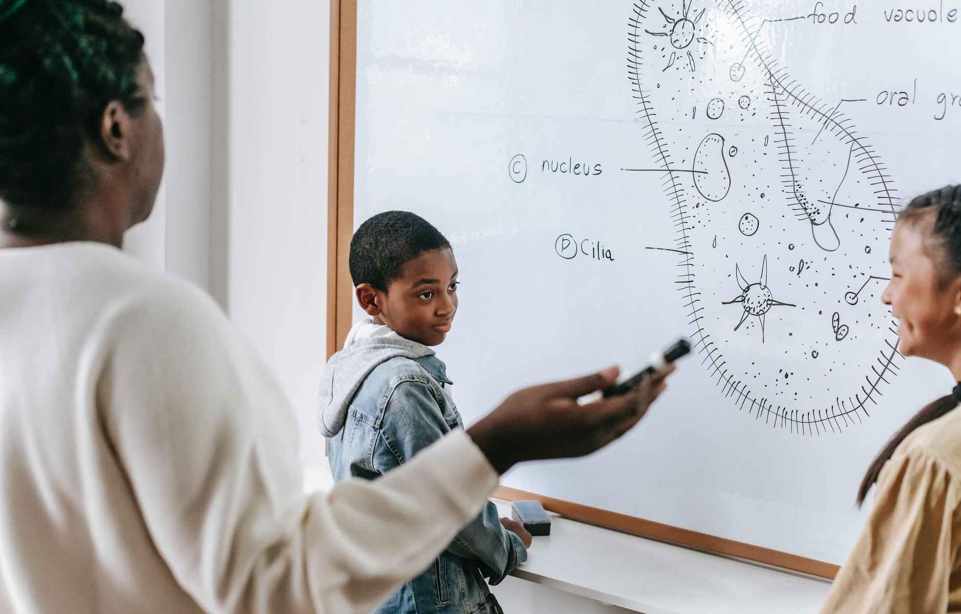 black teacher with smart kids in classroom